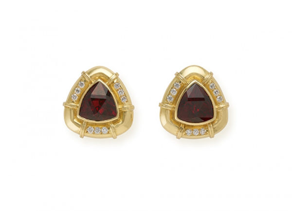 Gold earrings with rhodolite garnet and diamonds; fine jewellery London