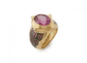Pink Tourmaline and Enamel Ring MIS26835-1-600×435