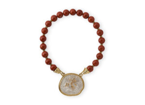 Necklace wi and th red jasper and 18ct gold with silver pendant; fine jewellery London