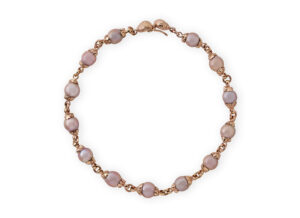 Red gold necklace with pink pearls; fine jewellery London
