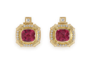 Gold earrings with rubellite and diamonds; fine jewellery London