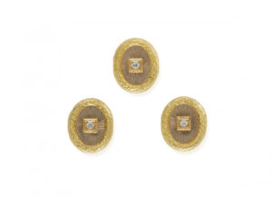 Diamond and Repoussè Gold Dress Studs