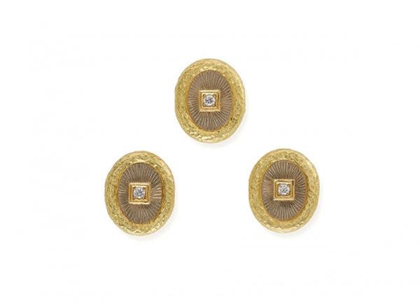 Gold dress studs with diamonds; fine jewellery London
