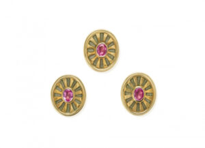 Gold dress studs with pink sapphires and grey enamel; fine jewellery London