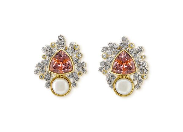 Pink tourmaline, diamond and pearl earrings BMS25834
