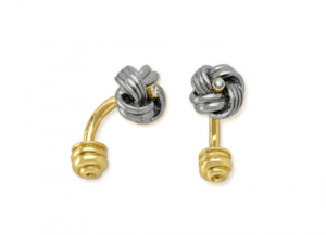 Gold cufflinks with silver calcite knot and diamonds; fine jewellery London