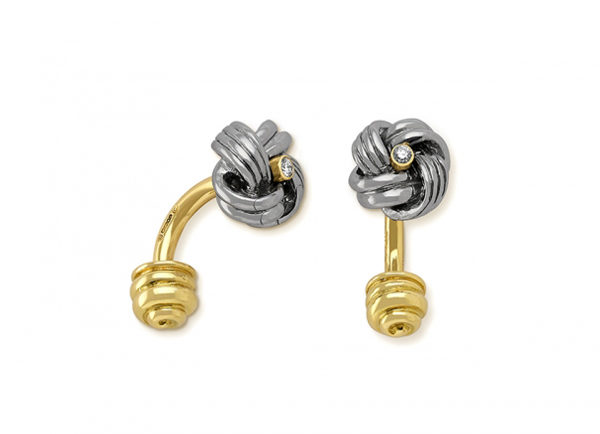 Silver Calcite Knot and Diamond Cufflinks CUF26837-600×434