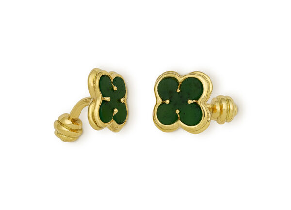 Gold cufflinks with nephrite