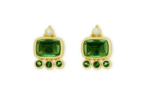 Green Tourmaline and Diamond African Queen Earrings