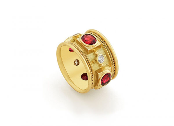 Red Spinel and Diamond Templar Band Ring