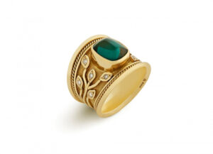 Blue-green Tourmaline Tapered Templar Ring