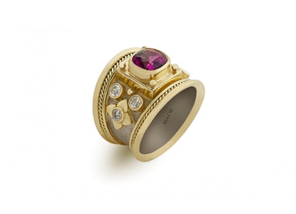 Rhodolite and Diamond Tapered Templar Ring