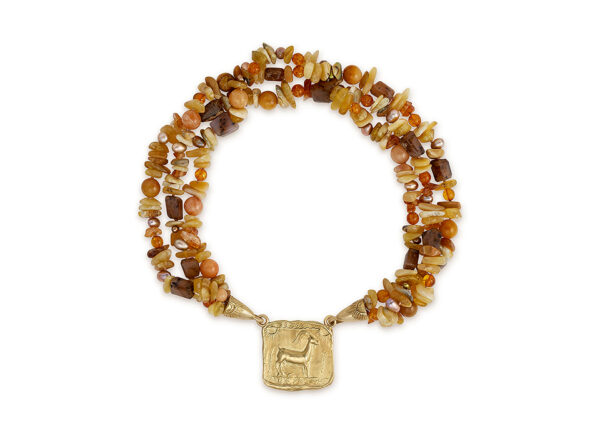 Bead necklace with molten gold motifs and Kri-Kri plaque; fine jewellery London