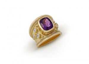 Amethyst and Diamond Tapered Templar Gold Ring; fine jewellery London