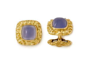 Gold cufflinks with chalcedony and molten gold; fine jewellery London