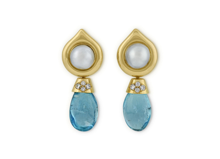 Aquamarine, Diamond and Pearl Drop Earrings
