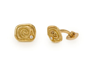 Molten gold cufflinks with diamonds; fine jewellery London
