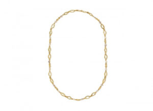 Gold necklace with molten gold links and freshwater pearls; fine jewellery London