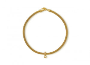 Gold foxtail chain necklace with diamond pendant; fine jewellery London