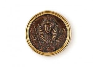 Gold pin with Queen Elizabeth I Naval Reward; gold brooch; fine jewellery London