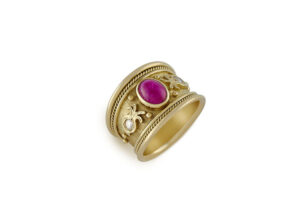 Gold Tapered Templar Ring with ruby and diamonds; fine jewellery London