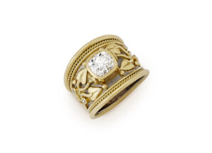 Gold tapered templar ring with Old Cut Diamonds; fine jewellery London