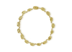 Gold necklace with molten gold plaques; fine jewellery London