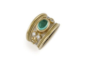 Green-Blue Tourmaline Tapered Templar Ring