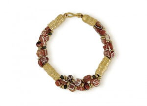 Byzantine Gold Tube, Antique Carnelian and Glass Bead Bracelet