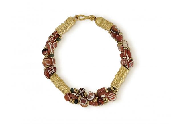 Byzantine Gold Tube, Antique Carnelian and Glass Bead Bracelet