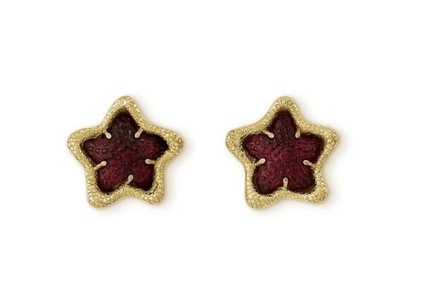 Rubellite starfish earrings