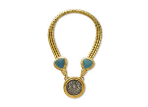 Gold necklace with repoussé tubes and William IV silver pendant decorated with aquamarines; fine jewellery London