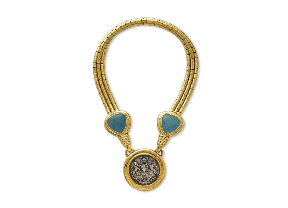 Silver Stockbroker Pass, Aquamarine and Repoussé Gold Necklace