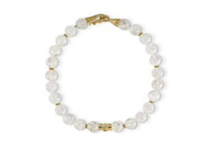 Snowflake Rock Crystal Bead and Gold Rondell Necklace