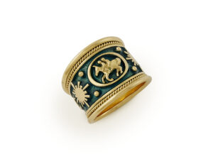 Gold Gemini ring withmoon, sun and planets motifs and teal-green enamel; fine jewellery London