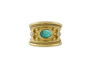 Emerald and Diamond Tapered Templar Gold Ring; fine jewellery London