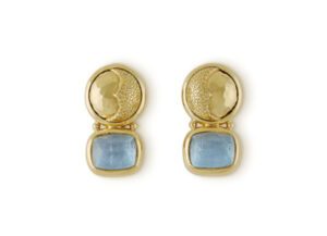 Aquamarine, sun and moon earrings