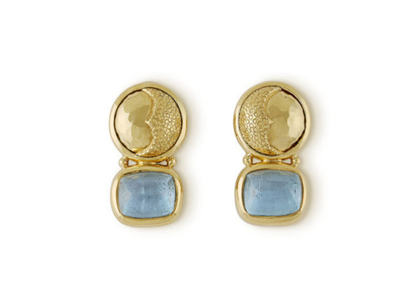 Gold earrings with aquamarines and sun & moon motifs; fine jewellery London