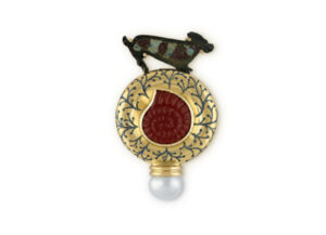 Gold pin with bronze, carnelian, enamel and pearl; fine jewellery London