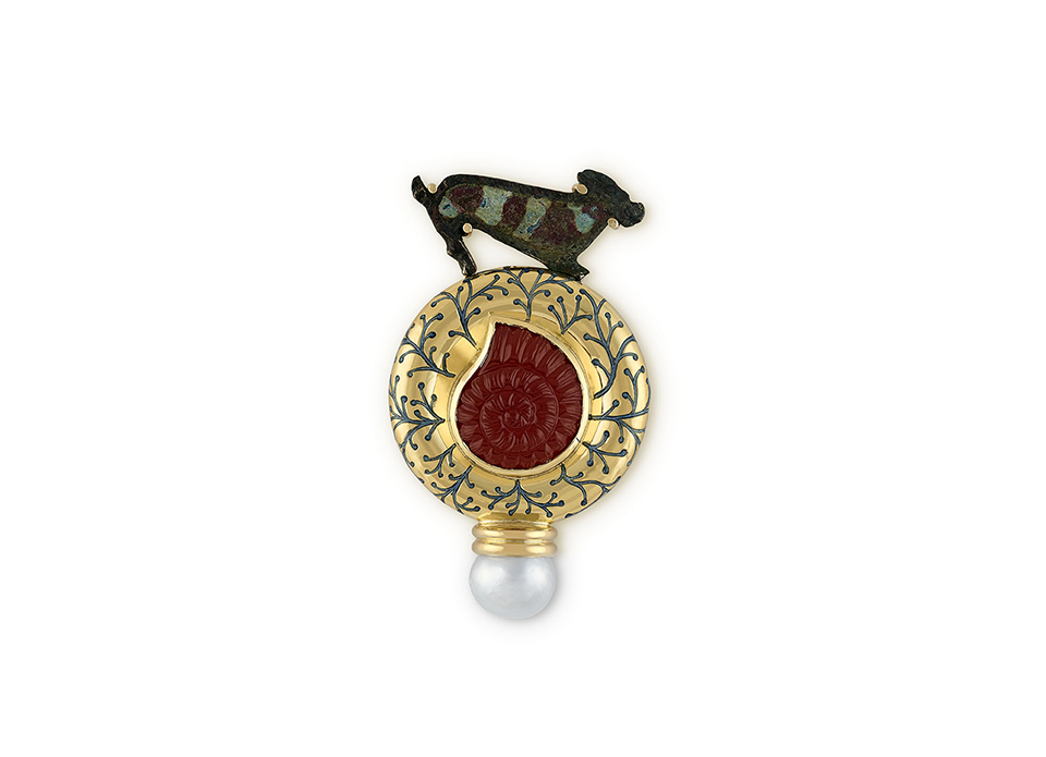 Bronze Hound and Carnelian Snail Cameo Pin