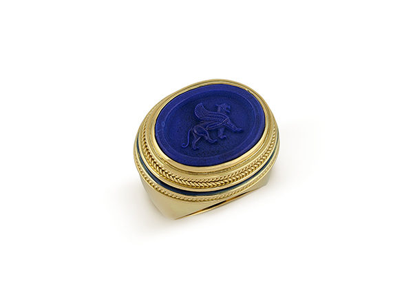 Gold Orlov ring with lapis lazuli and blue enamel; fine jewellery London