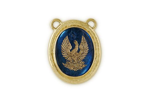 Gold pendant with spectralite intaglio; fine jewellery London