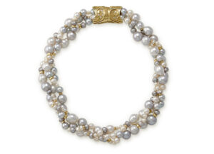 Pearl necklace with cultured grey, white & South Sea pearls; fine jewellery London