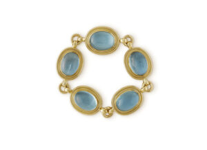 18ct yellow Gold bracelet with five aquamarines; fine jewellery London