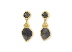Grey Rose-Cut Diamond Drop Earrings