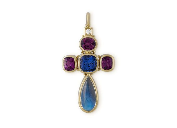 Gold pendant with rainbow moonstone, tanzanite andrhodolite garnets; fine jewellery London