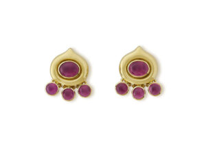18ct Gold Earrings with rubellites; fine jewellery London