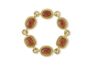 Gold bracelet with spessartite garnets; fine jewellery London