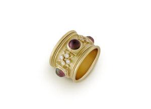 Gold templar ring with bi-coloured tourmalines and diamonds; fine jewellery London