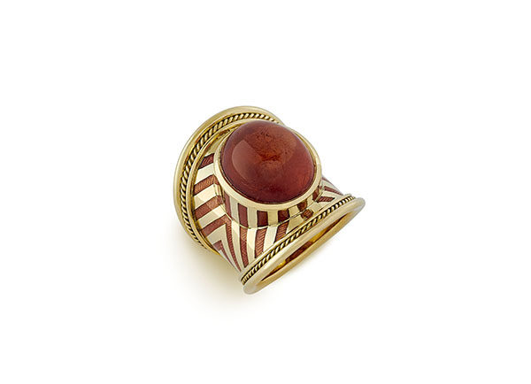Gold ring with mandarin garnet and orange enamel; fine jewellery London